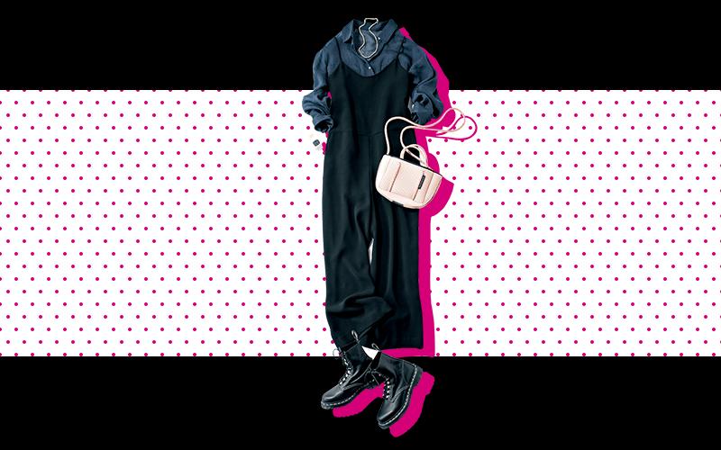 ネイビー×ブラックのダークトーンコーデにピンク小物が映える【今日の着回しDiary】