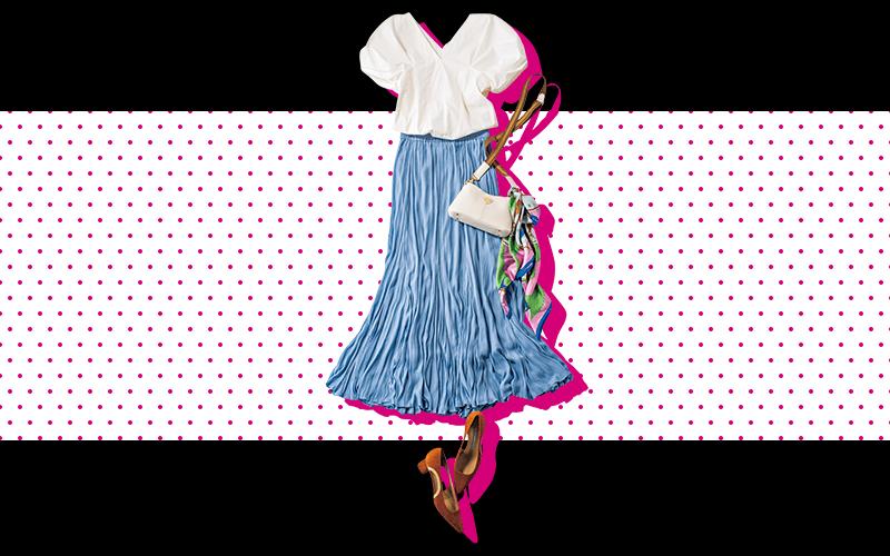 フェミニンブラウスにはドレッシーなプリーツスカートが好相性【今日の着回しDiary】