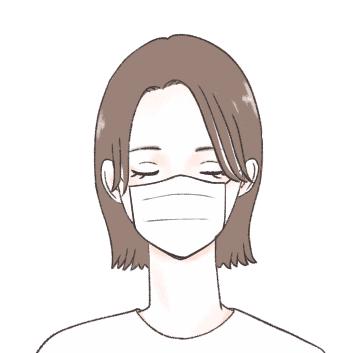 マスクで顔を半分近く覆い、更に