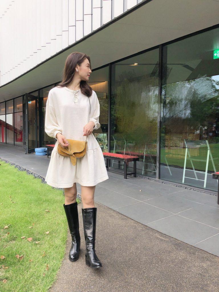 【H&Mで購入したワンピ】×ロングブーツでトレンドを意識!