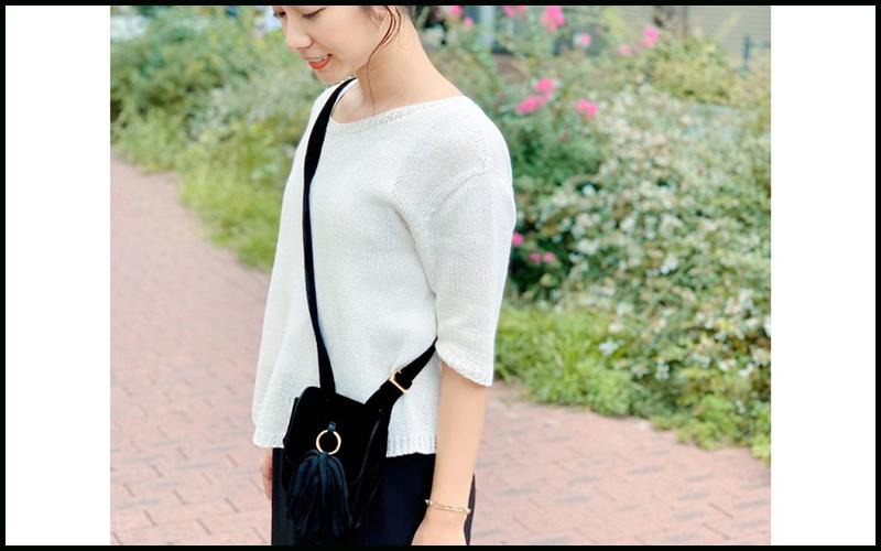 フリンジのミニバッグが大人可愛い!「秋のワンマイルコーデ」