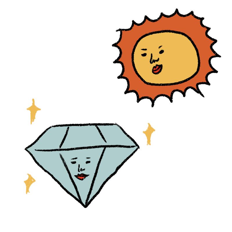 太陽の光が当たることで、キラキ