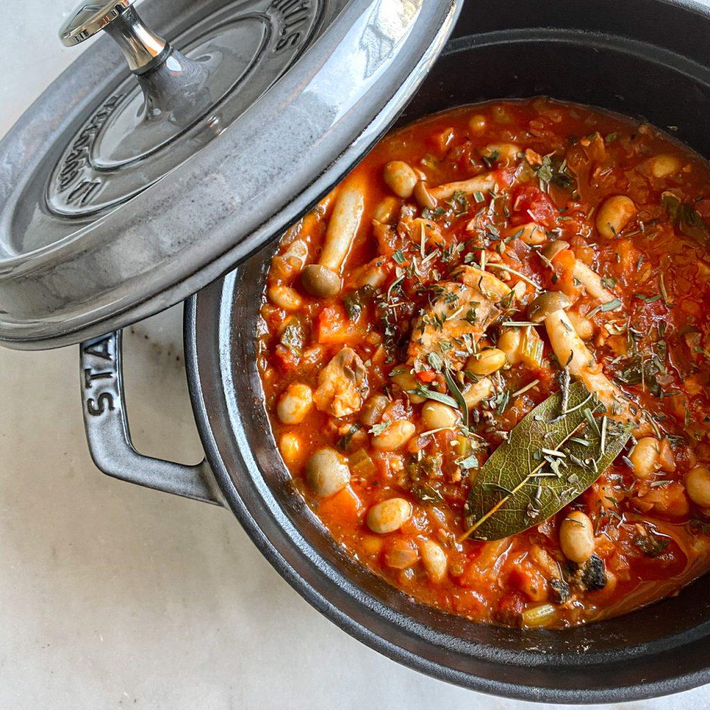 <作り方> ①鍋にオリーブオイ