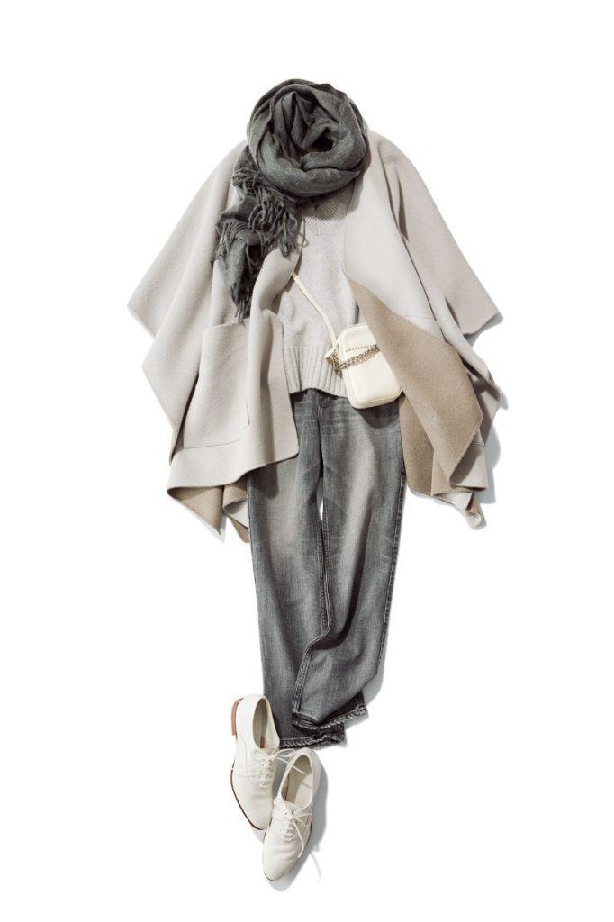 グレー系でまとめた柔らかいワントーンで優しい空気感に包まれて ワントーンでまとめれば、定番色の鮮度が上がります。ストール¥69,000(ベグ アンド コー/ボーダレス)ストールコート¥48,000(ルームエイト/オットデザイン)ニット¥29,000(アーチザ/シップス ルミネ新宿WOMEN'S店)デニムパンツ¥23,000(アッパーハイツ/ゲストリスト)レースアップシューズ¥85,000(サントーニ/リエート)バッグ¥98,000(J&Mデヴィッドソン/J&Mデヴィッドソン青山店)