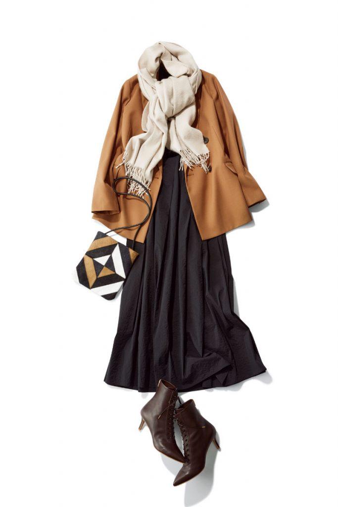 ほんのりベージュを含んだ人気色「Oyster」がお疲れ顔までトーンアップ ミルキーカラーのストールが顔周りを明るく見せるので、まさにアラサー世代の味方。洋服に濃色が多い人に推しの一枚。ストール¥69,000(ベグ アンド コー/ボーダレス)ジャケット¥18,000(ノーク)ニット¥11,000(Stola.)スカート¥32,000(エーケーワン/デミ ルクス ビームス新宿)ブーツ¥24,000(ダイアナ/ダイアナ銀座本店)バッグ¥19,000(ノマディス/ハウント代官山/ゲスト)