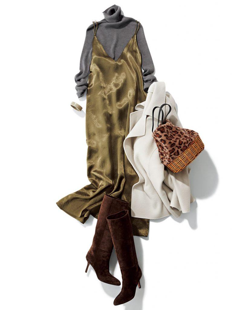冬に着るなら… 人気復活のロングブーツで足元に重さを出すとサテンワンピが生きてくる! 王道感のあるリブニット合わせなら、足元でトレンドを差すのが効果的。サテンと相性のいいスエードをチョイスして、ワンピの光沢を楽しみたい。ワンピース¥27,000(サクラ/インターリブ)ニット¥25,000(ユニオンランチ/サザビーリーグ)バッグ¥16,000(マルシェ/フラッパーズ)横に添えたコート¥22,000(Mila Owen/Mila Owenルミネ新宿2店)ブーツ¥86,000(ペリーコ/アマン)バングル¥7,855(アビステ)