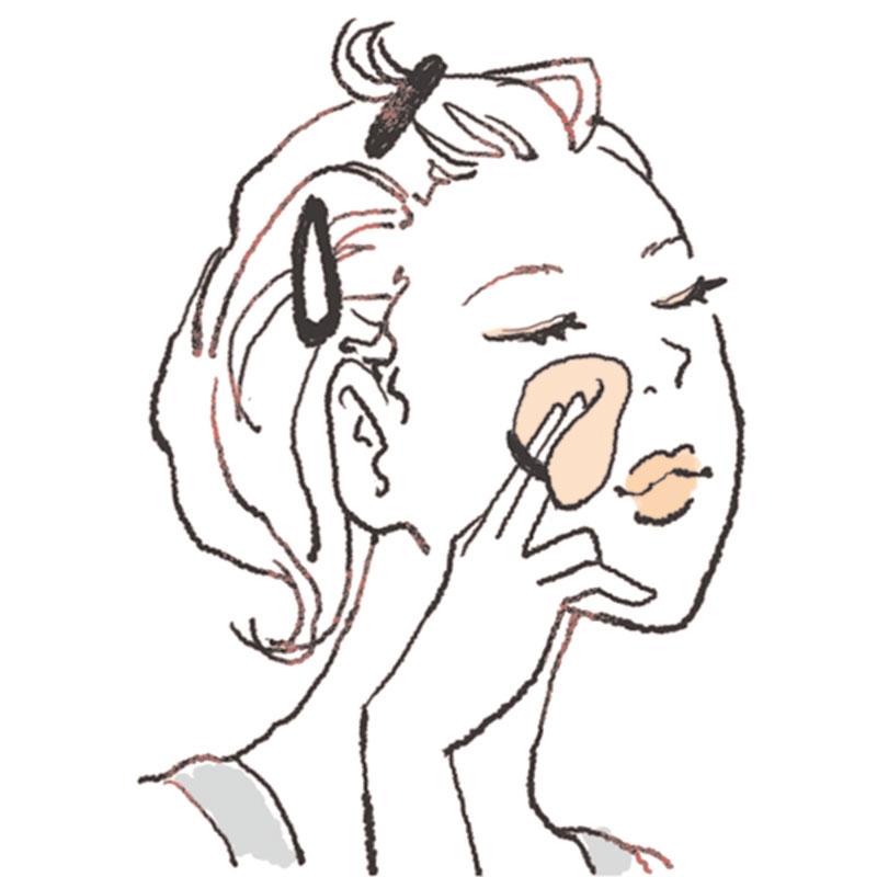 Bをパフに取り、小鼻→頬にかけて横に伸ばします。肌に密着させるようにパフの〝面〟を使うと◎。