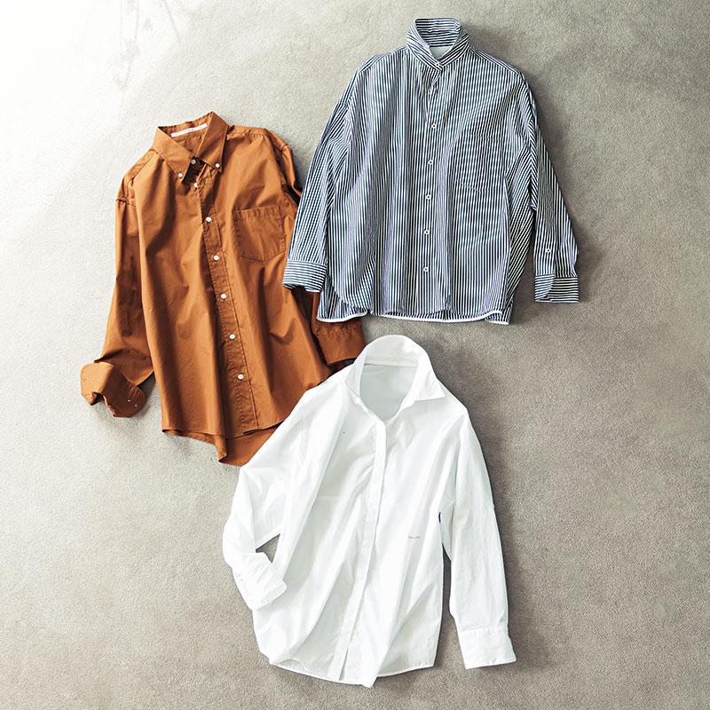 【上】TICCAのストライプシャツ【真ん中】THE ACADEMY NEWYORKのボタンダウンシャツ【下】WENDELBORN ×Whim Gazetteのコラボシャツ