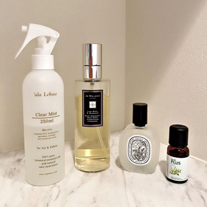 香水だけでなく、ルームフレグランスやヘアミスト、マスクにつけるアロマオイルにもこだわっています。