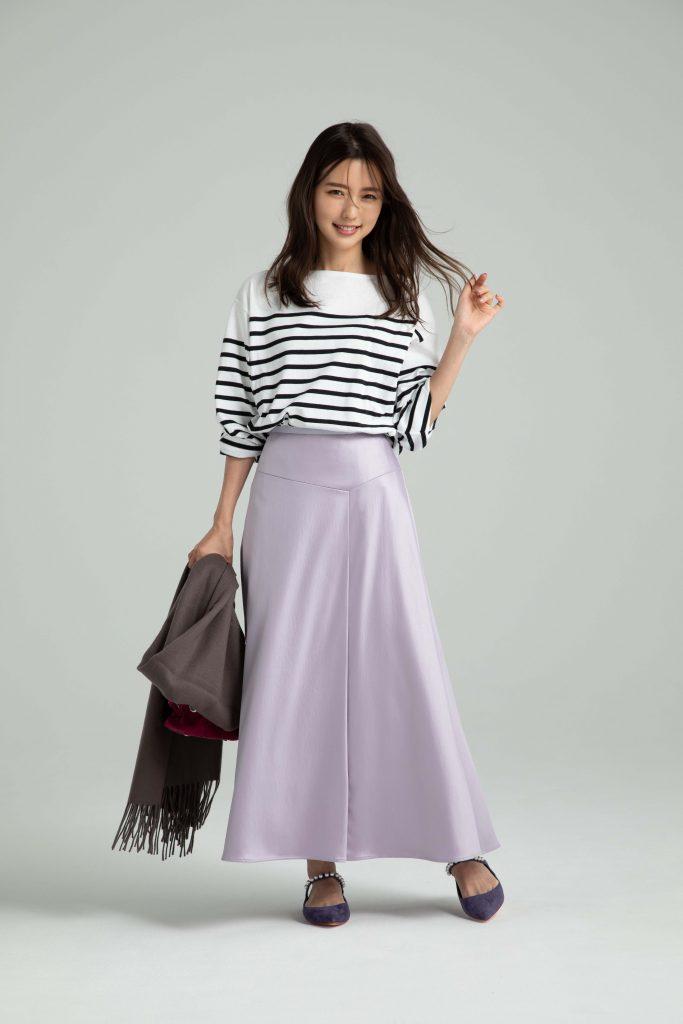 真野恵里菜さん「身長が低い人のための秋冬コーデ」【ロング丈スカート】
