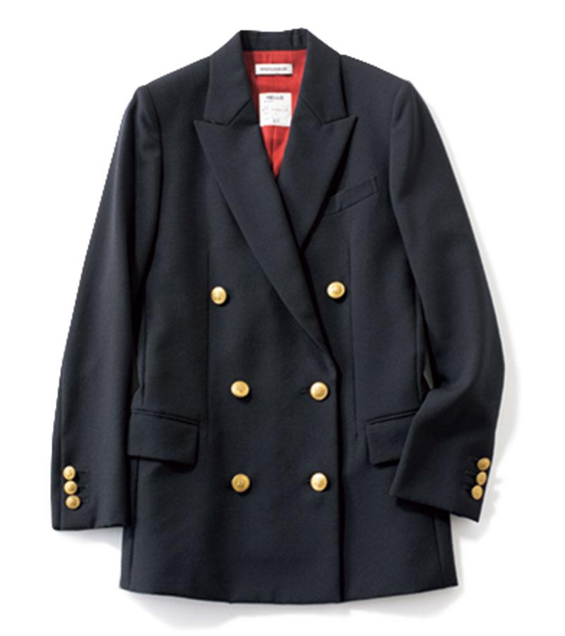 【14】ジャケット ゴールドボタンがトラッド感を高めます。ちょっと大きめをセレクトして、ママ世代と変化を。ジャケット¥87,000(マディソンブルー)