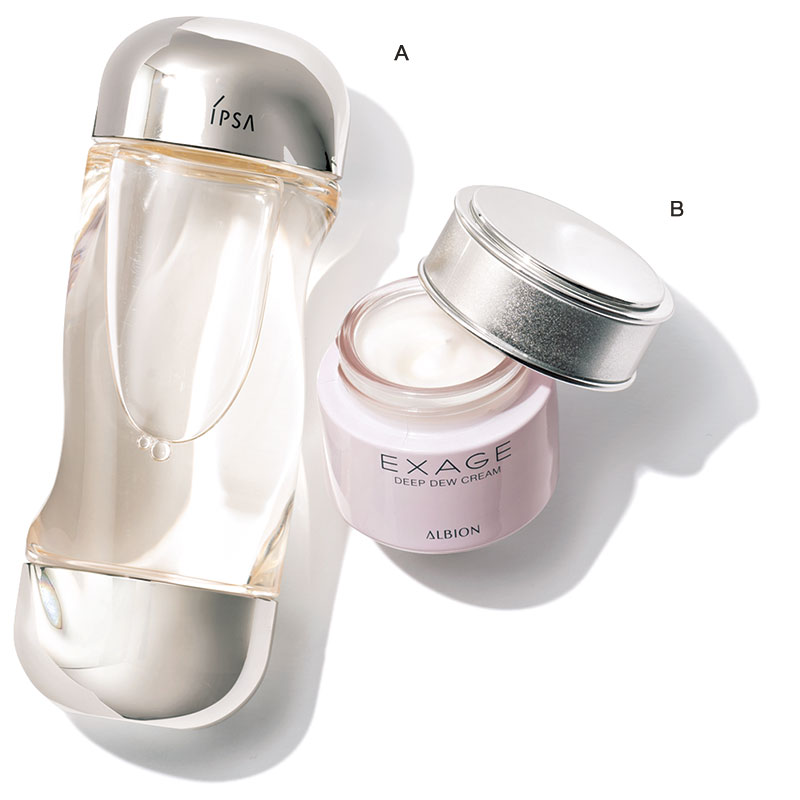 マスクの摩擦で乾燥したり湿疹が出た時は、入念に保湿 A「濃密なうるおいで肌のバリア機能を助けてくれる!」(ナディアさん)エクサージュ ディープデュウ クリーム30g ¥6,000(アルビオン) B「浸透力が高い軽めな化粧水を何度も重ねて水分補給を!」(ナディアさん)イプサ ザ・タイムR アクア[医 薬部外品]200㎖ ¥4,000(イプサ)