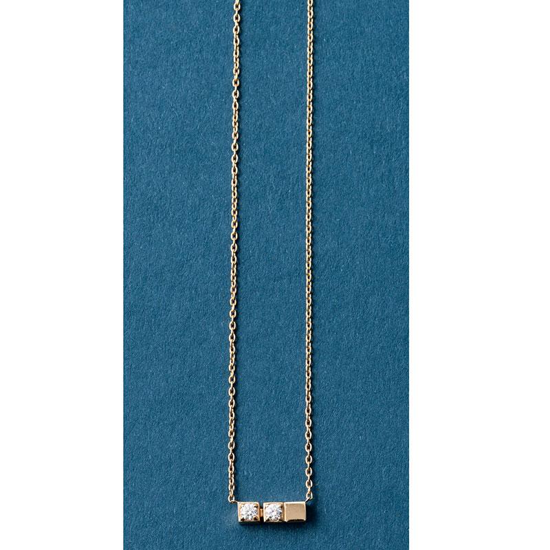 「ブロック ネックレス 02」〈YG×D〉¥120,000(すべてシハラ/シハラ ラボ)※11/1からの改定価格