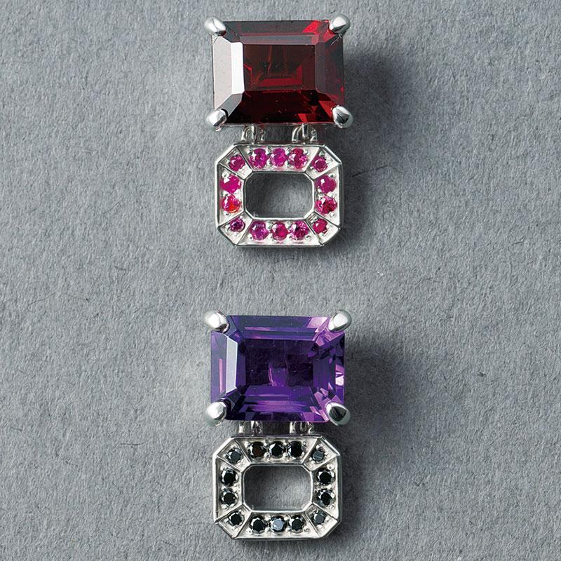 ピアス「インコンプリート」上〈SV×ガーネット×ルビー〉¥72,000下〈SV×アメシスト×ブラックダイヤモンド〉¥75,000