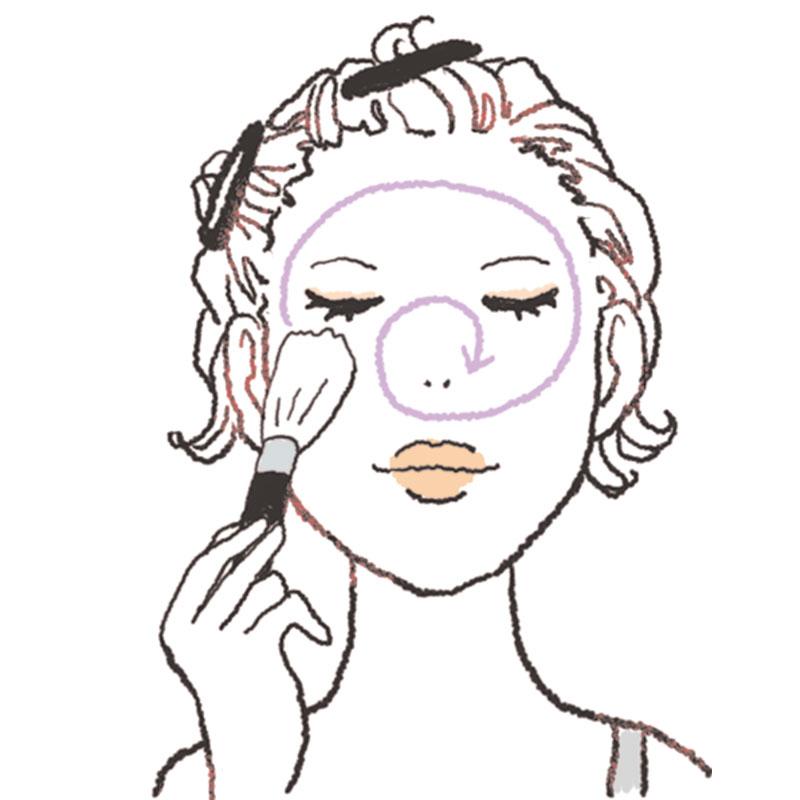 1.最初にパウダーを仕込むのがポイント!Cをブラシに取り、顔の外→内側に円を描くようにのせます。