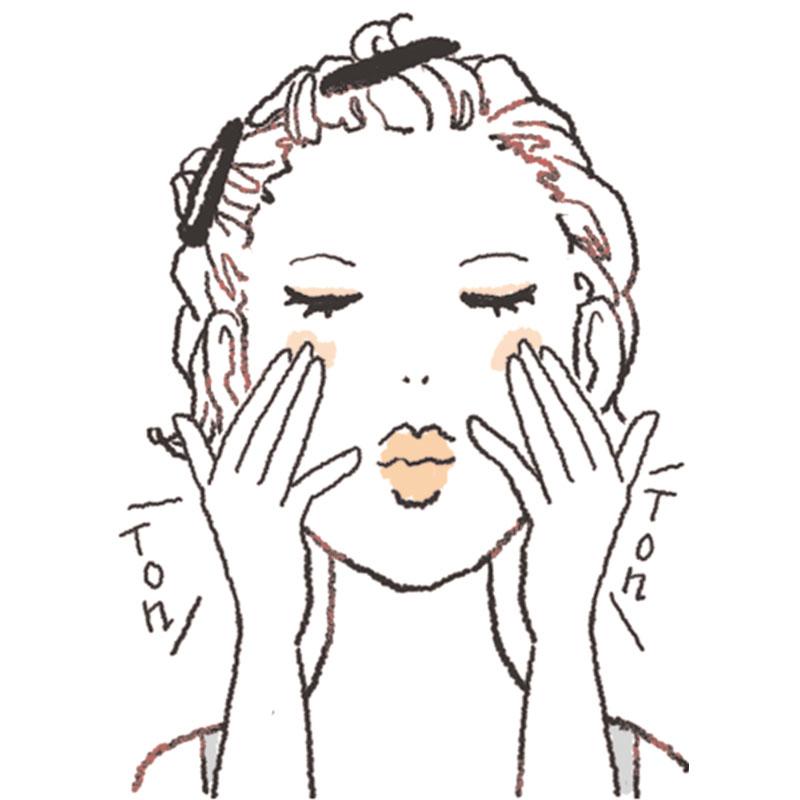 2.AもしくはBを使用。おでこ・頬・顎に置き、指の腹で温めながら肌にしっかり密着させていきます。