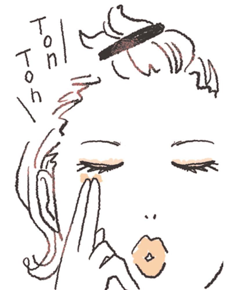 1.Aを2~3本の指の腹に取り、スタンプを押すように顔の数カ所にのせます。薄く全体に広げて。