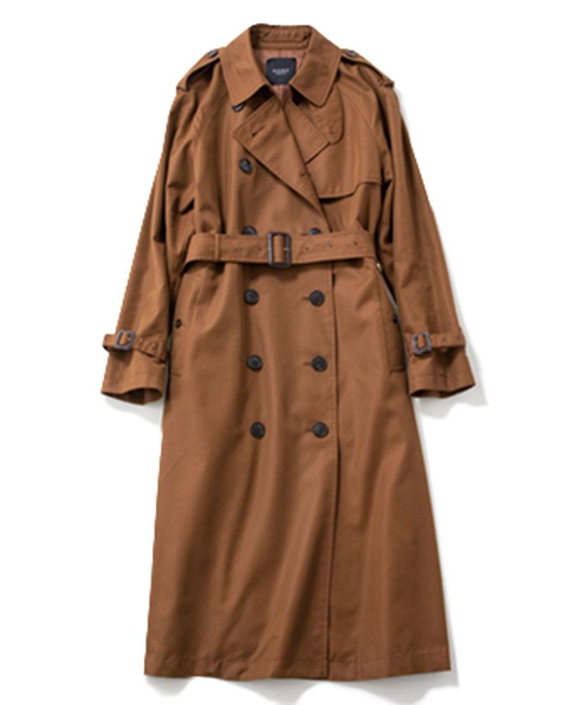 【H 】トレンチコート こっくりとしたブラウンをセレクトして、ベーシックスタイルを刷新。¥18,500(ノーク バイ ザ ライン/ノーク)