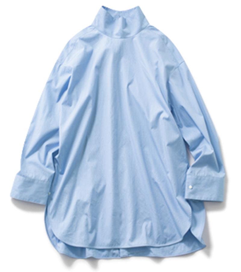 【C】スタンドカラーシャツ ダボッとした大きめのシルエットでこなれ感が。¥14,000(スピック&スパン/スピック&スパン ルミネ有楽町店)