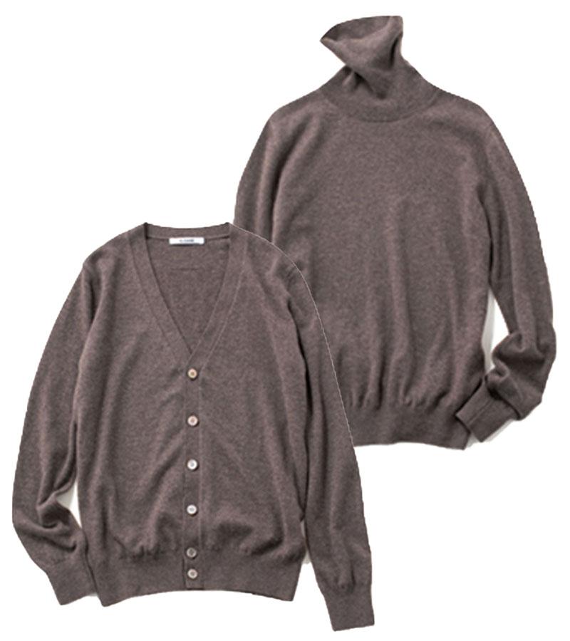 【D】ニットアンサンブル 濃淡のあるブラウンのミックスカラーが上品見え。カーディガン¥39,000タートルニット¥36,000(ともにスローン)