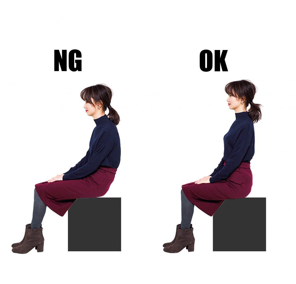 電車の椅子に座るときは、骨盤を