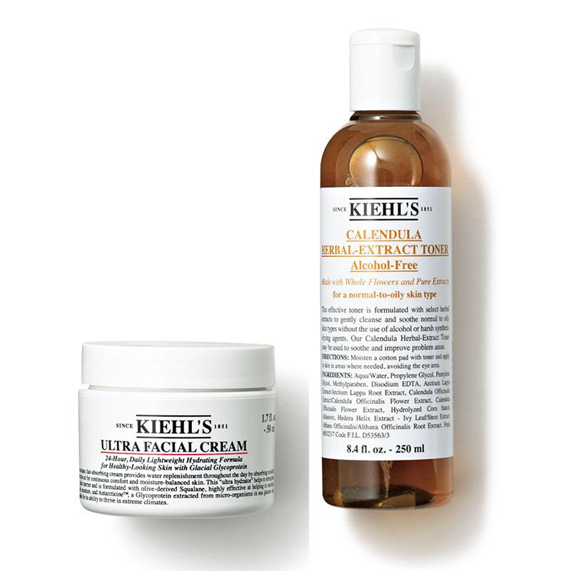 〈右〉紫外線による毛穴の開きにも効果的な収れん化粧水。ハーバルトナーCLアルコールフリー250㎖¥4,000〈左〉しっかり潤うのに軽やかなテクスチャーが人気。キールズ クリームUFC123g¥7,200( ともにキールズ)