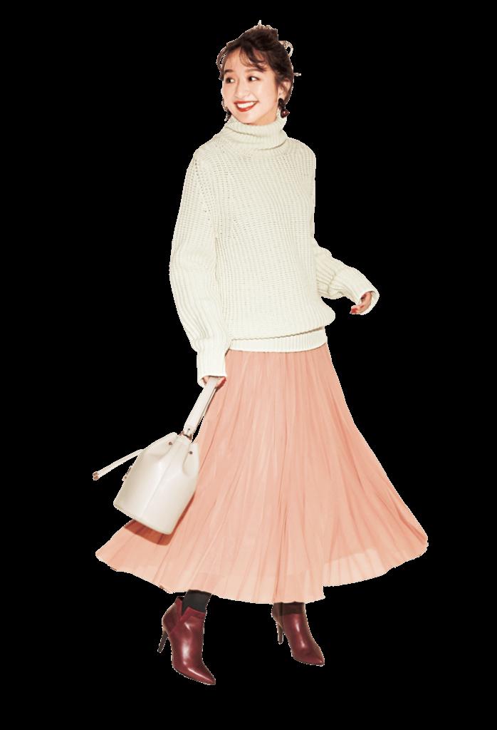 フェミニンなピンクスカートは、