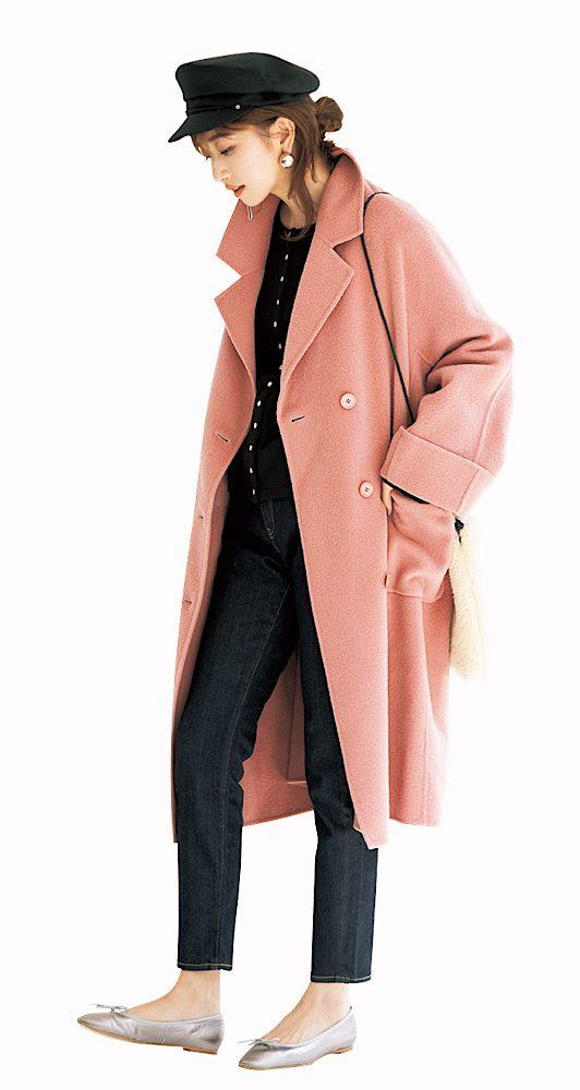 甘めのパステルピンクコートは、
