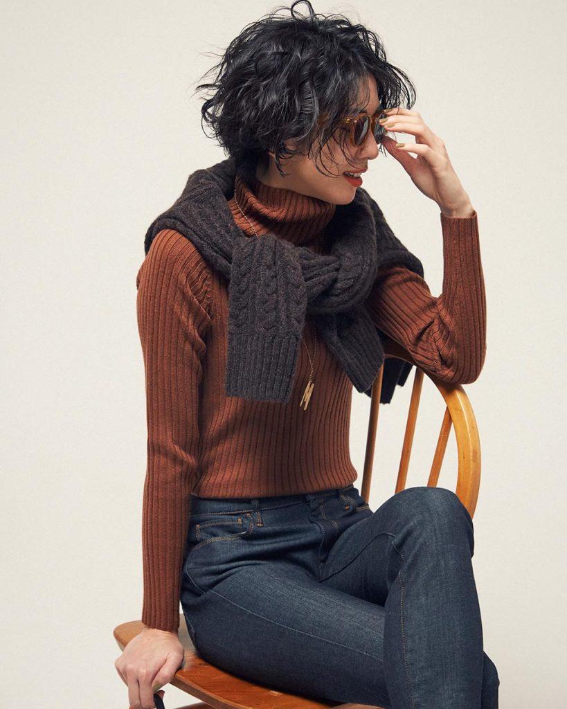 リブ×ケーブル編み、テラコッタ