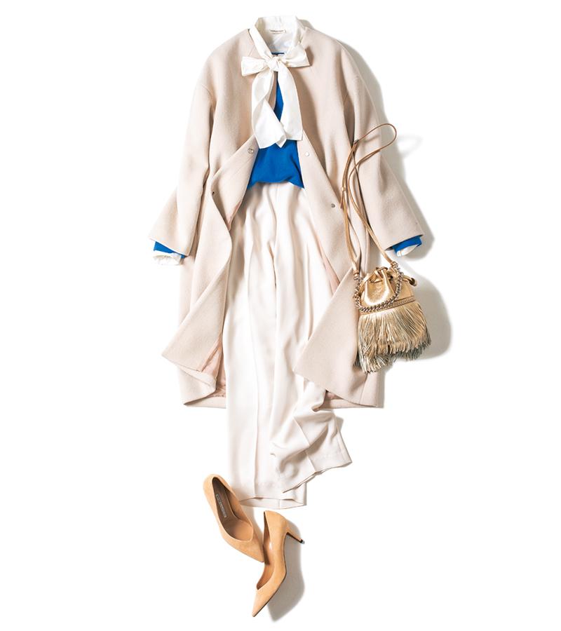 「本来は自分の内側に品がないと、いくら上品な洋服を着ていても品のよさは出ません。でもね〝服育〟という言葉があるように、着ている服が自分を育ててくれるという一面もあるんですよ」という青木さんの言葉を、私は信じてる。バッグ¥137,000(J&M デヴィッドソン/J&M デヴィッドソン 青山店)パンプス¥48,000(ペリーコ/ウィムガゼット ルミネ新宿店)