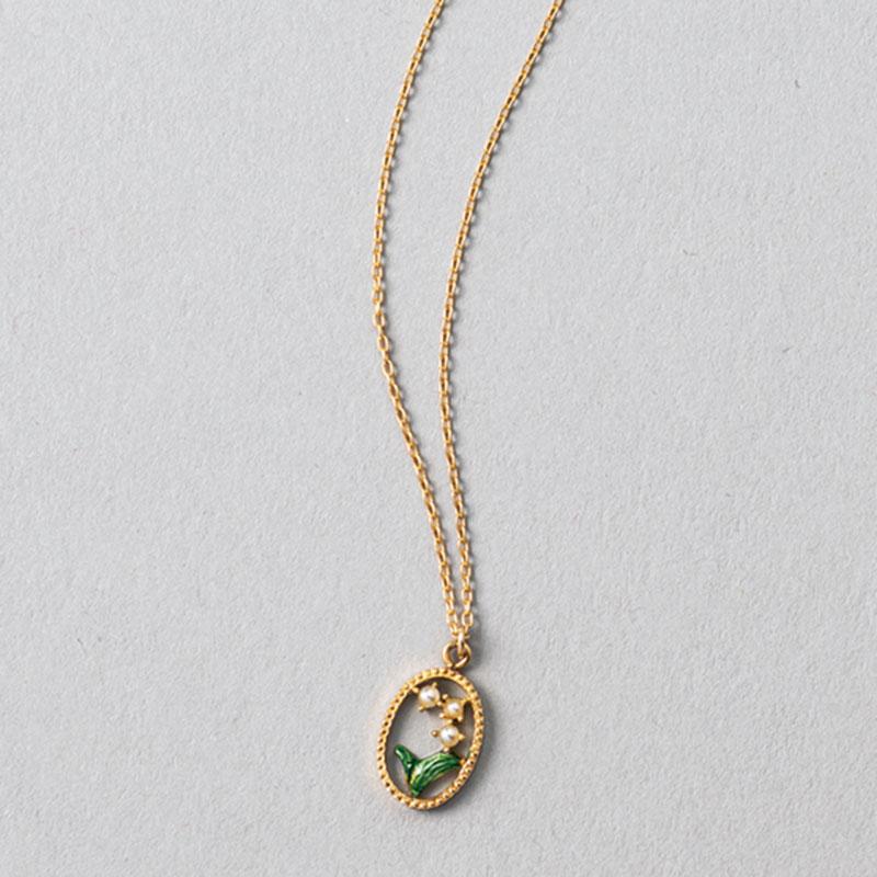すずらんペンダント〈YG×アコヤ真珠〉¥45,000