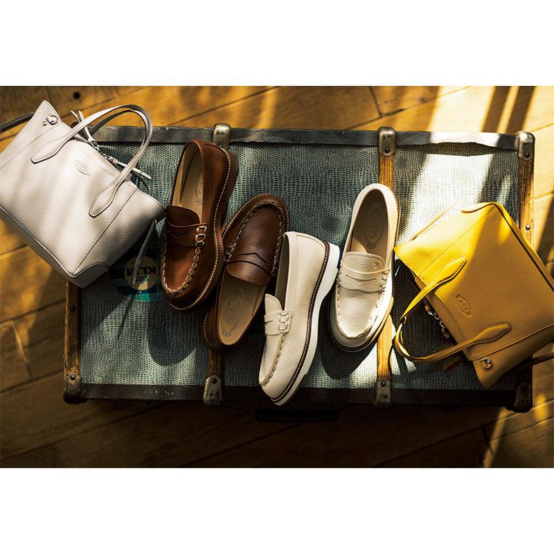 バッグにローファー、スニーカー