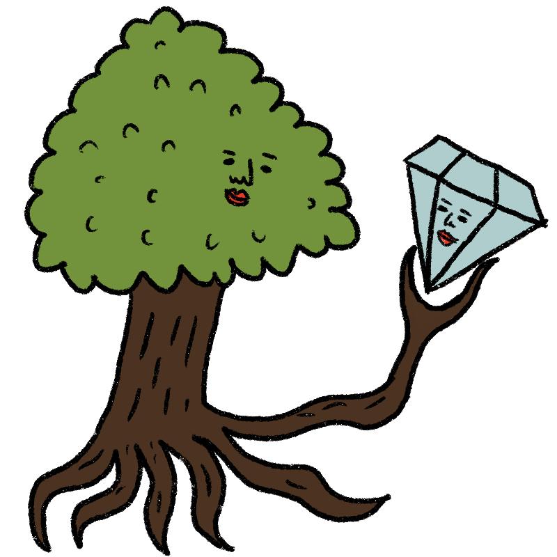 木とダイヤモンドは、どちらも「