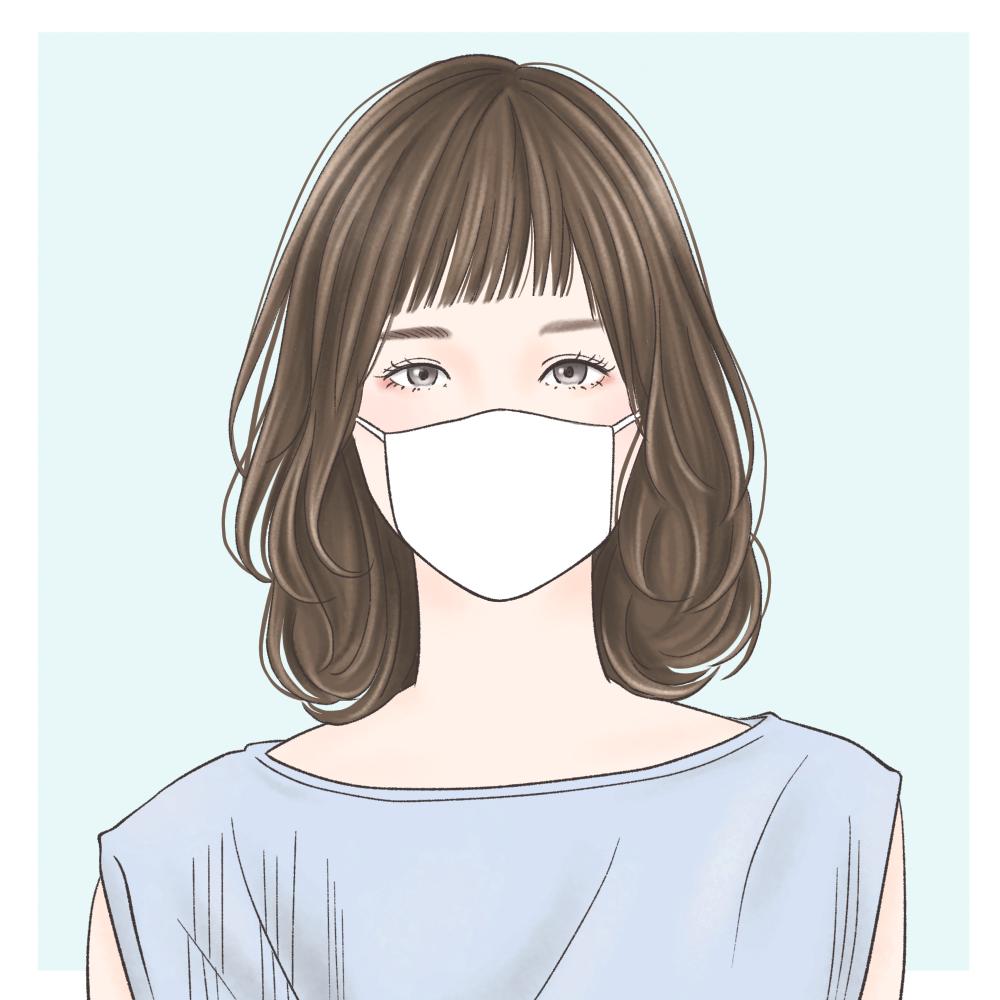 ●眉下で重めの流し前髪では、マ