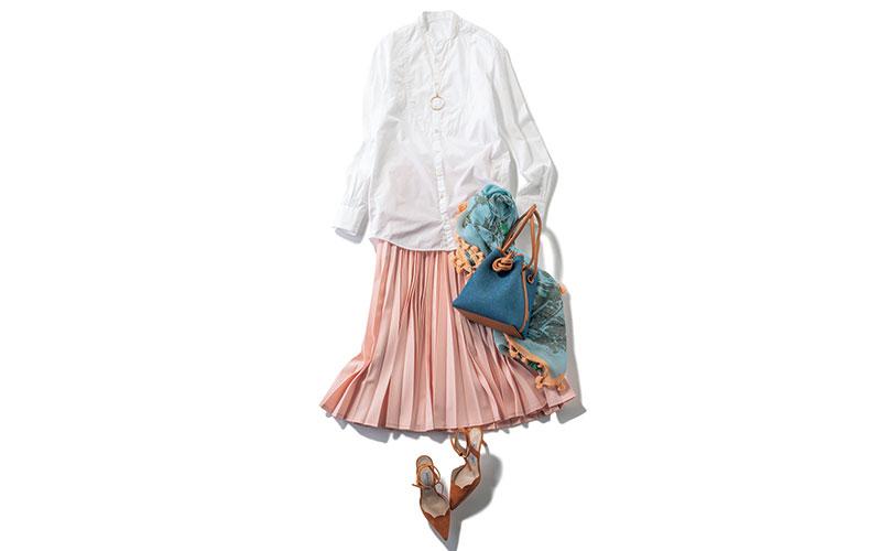 ハンサムシャツに女っぽスカートコーデ【今日の着回しDiary】