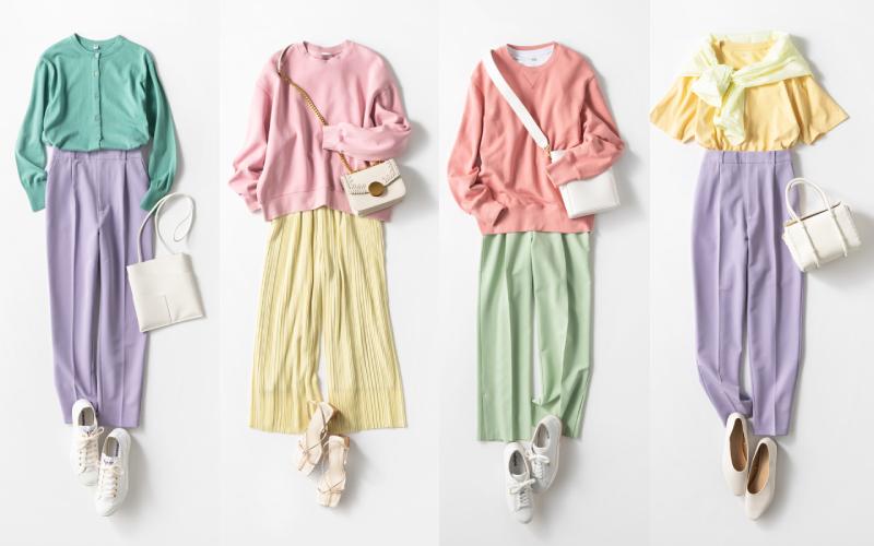 全部ユニクロとGUで「春色配色コーデ」5選【パンツ編】