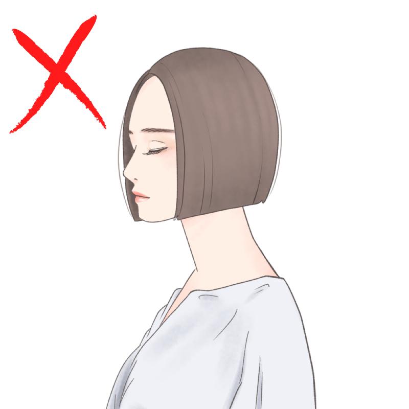 前髪のないショートボブは、大人