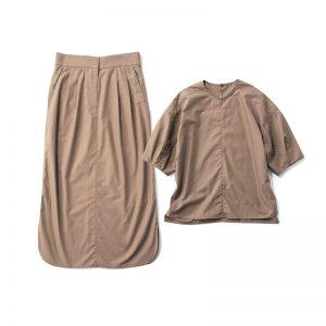 【G】セットアップ ハリのある素材で美人度増し。ブラウス¥12,000スカート¥14,300(ともにアンクレイヴ/オンワード樫山)