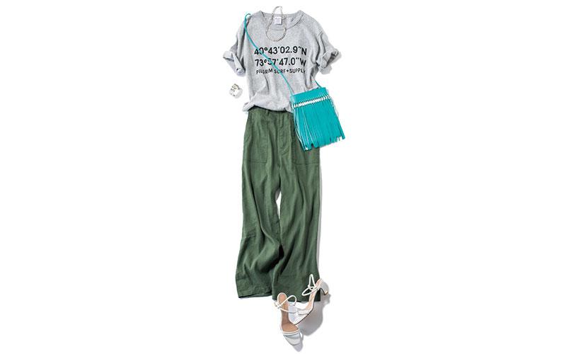 アラサー女子の「ロゴTシャツコーデ」【今日の着回しDiary】