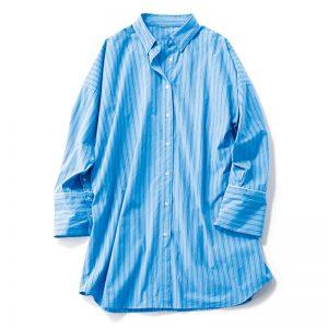 【A】ビッグシャツ マシンウォッシャブル&シワ加工素材でアイロン不要。洗いざらしで着られる尊さ。¥6,930(Mila Owen)