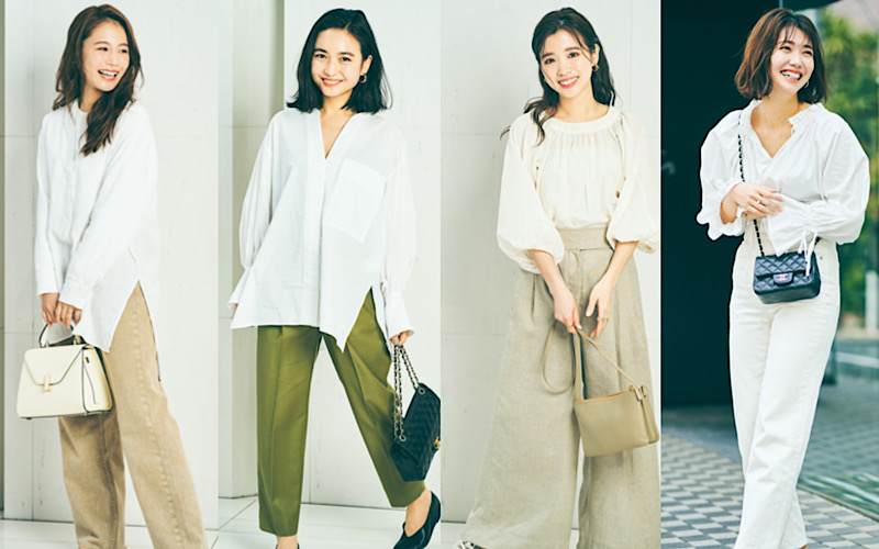 アラサー女子がリアルにしている「夏のきれいめ白シャツ&ブラウスコーデ」4選