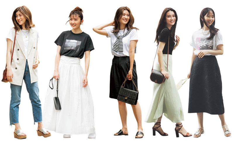 アラサー女子の「モノトーンTシャツスナップ」5選