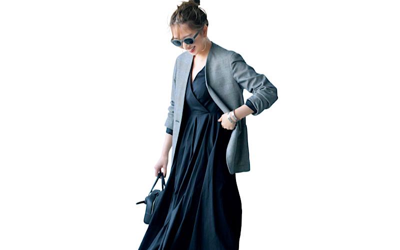 【今日の服装】「黒ワンピ」を秋にカッコよく着るなら…?【アラサー女子】
